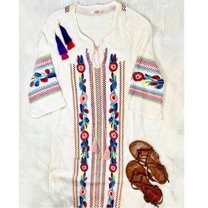 Floral Embroidered Dress Tassels Maxi Kaftan Boho